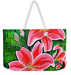 Stargazer Lilies Bold And Vibrant Floral Painting On Canvas Weekender Tote Bag
