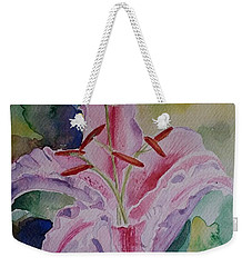 Weekender Tote Bag featuring the painting Stargazer Lily Watercolor Still Life Gift  by Geeta Biswas