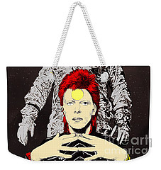Weekender Tote Bag featuring the drawing Starman Bowie by Jason Tricktop Matthews