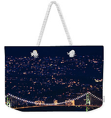 Weekender Tote Bag featuring the photograph Starry Lions Gate Bridge - Mdxxxii By Amyn Nasser by Amyn Nasser