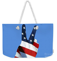 Weekender Tote Bag featuring the photograph Stars And Stripes Peace Sign .png by Al Powell Photography USA