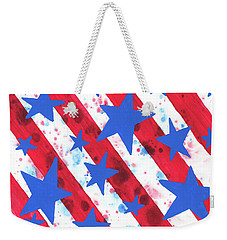 Weekender Tote Bag featuring the painting Stars And Strips  by Darice Machel McGuire