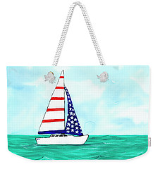 Weekender Tote Bag featuring the painting Stars And Strips Sailboat by Darice Machel McGuire