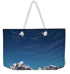 Startrails Above Reine Weekender Tote Bag by Alex Conu