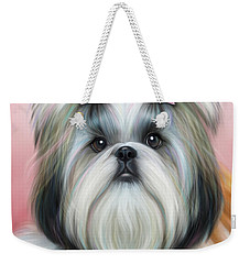 Weekender Tote Bag featuring the painting Stassi The Tzu by Catia Lee