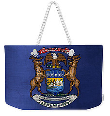State Of Michigan Flag Recycled Vintage License Plate Art Version 2 Weekender Tote Bag by Design Turnpike