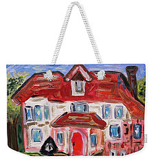 Weekender Tote Bag featuring the painting Stately City House by Mary Carol Williams