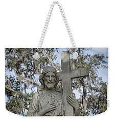 Weekender Tote Bag featuring the photograph Statue Of Jesus And Cross by Kim Hojnacki