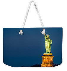 Statue Of Liberty And A Rising Supermoon In New York City Weekender Tote Bag
