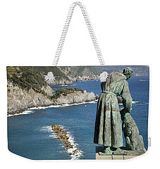 Statue Of Saint Francis Of Assisi Petting A Dog  Weekender Tote Bag