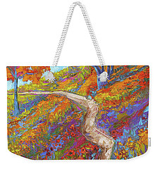 Weekender Tote Bag featuring the painting Stay On The Path - Modern Impressionist, Landscape Painting, Oil Palette Knife by Patricia Awapara