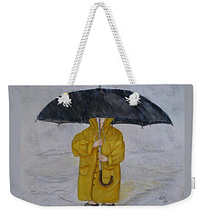 Weekender Tote Bag featuring the painting Under Daddy's Umbrella by Kelly Mills
