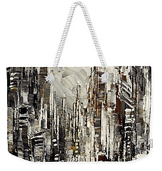 Weekender Tote Bag featuring the painting Steam Over Gotham by Tatiana Iliina