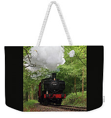 Steam Train Approaching In The Forest Weekender Tote Bag by Gill Billington