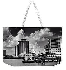 Steamboat And Big Buildings In Black And White Weekender Tote Bag