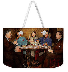 Weekender Tote Bag featuring the photograph Steampunk - Bionic Three Having Tea 1917 by Mike Savad