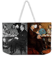 Weekender Tote Bag featuring the photograph Steampunk - Bionic Three Having Tea 1917 - Side By Side by Mike Savad