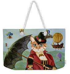 Weekender Tote Bag featuring the painting Steampunk Cat Gal - Victorian Cat by Carrie Hawks
