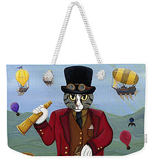 Weekender Tote Bag featuring the painting Steampunk Cat Guy - Victorian Cat by Carrie Hawks