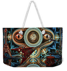 Weekender Tote Bag featuring the digital art Steampunk Guitar by Louis Ferreira