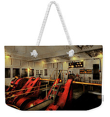 Weekender Tote Bag featuring the photograph Steampunk - Man The Controls 1908 by Mike Savad