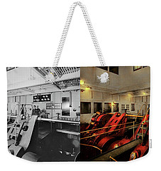 Weekender Tote Bag featuring the photograph Steampunk - Man The Controls 1908 - Side By Side by Mike Savad