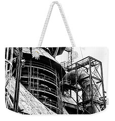 Steel Mill In Black And White - Bethlehem Weekender Tote Bag by Bill Cannon