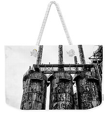 Steel Stacks - The Bethehem Steel Mill In Black And White Weekender Tote Bag by Bill Cannon