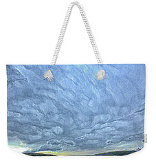 Steely Blue Sky Weekender Tote Bag