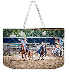 Weekender Tote Bag featuring the photograph Steer Wrestling With An Audience by Darcy Michaelchuk