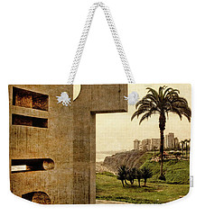Weekender Tote Bag featuring the photograph Stelae In The Park - Miraflores Peru by Mary Machare