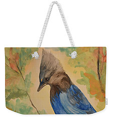 Weekender Tote Bag featuring the painting Stellar Jay - Autumn #3 by Maria Urso