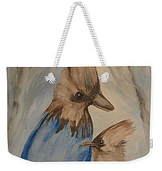 Weekender Tote Bag featuring the painting Stellar Jay - Winter #4 by Maria Urso