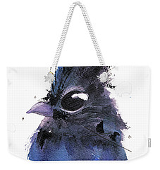 Weekender Tote Bag featuring the painting Steller Jay by Dawn Derman