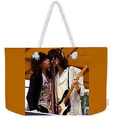 Steven Tyler And Joe Perry Of Aerosmith At Monsters Of Rock In Oakland Ca 1979 Weekender Tote Bag