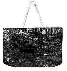 Weekender Tote Bag featuring the photograph Stevensville Brook In Underhill, Vermont - 1 Bw by James Aiken