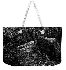 Weekender Tote Bag featuring the photograph Stevensville Brook In Underhill, Vermont - 3 Bw by James Aiken