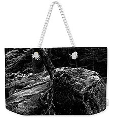 Weekender Tote Bag featuring the photograph Stevensville Brook In Underhill, Vermont - 4 Bw by James Aiken