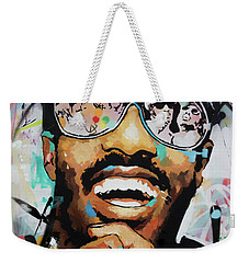 Weekender Tote Bag featuring the painting Stevie Wonder Portrait by Richard Day