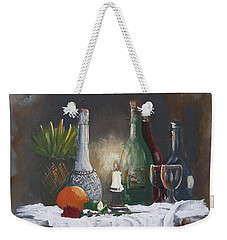 Weekender Tote Bag featuring the painting Still Life by Miroslaw  Chelchowski