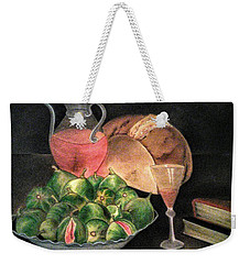 Still Life Of Figs, Wine, Bread And Books Weekender Tote Bag