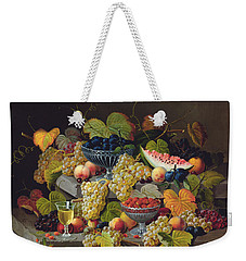 Still Life Of Melon Plums Grapes Cherries Strawberries On Stone Ledge Weekender Tote Bag