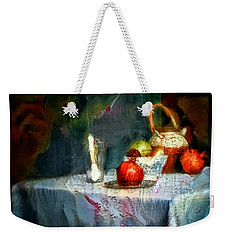 Still Life Oil Painting Table With Pomegranate Ceramic Kettle Glass Knife And Bowl Of Fruit Pears Linen Sketch Painting Life Drawing Weekender Tote Bag