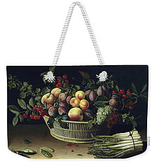Still Life With A Basket Of Fruit And A Bunch Of Asparagus Weekender Tote Bag