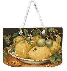 Still Life With A Bowl Of Citrons Weekender Tote Bag by Giovanna Garzoni