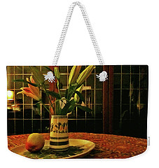Weekender Tote Bag featuring the photograph Still Life With Apple by Anne Kotan
