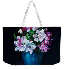 Still Life With Apple Tree Flowers In A Blue Vase Weekender Tote Bag