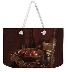 Still Life With Apples, Bottles, Baskets And Shakers. Weekender Tote Bag