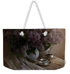 Still Life With Fresh Lilac And Dishes Weekender Tote Bag by Jaroslaw Blaminsky