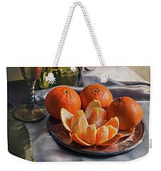 Still Life With Fresh Tangerines And Oil Lamp Weekender Tote Bag by Jaroslaw Blaminsky